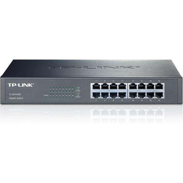 سويتش جيجابت تي بي لينك 16 منفذ 16-Port Gigabit Desktop/Rackmount Switch TL-SG1016D