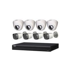 داهوا طقم 8 كاميرات مراقبة داخلية وخارجية دقة 2 ميجا تصوير ليلي وجهاز تسجيل مشاهدتة من الجوال HDW1200RN& HFW1200TN