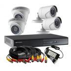 هيكفيجن طقم 4 كاميرات مراقبة داخلية و خارجية بدقة 2 ميجا تصوير ليلي مع جهاز تسجيل مشاهدة من الجوال DS-J143