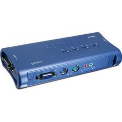 سويتش  يحتوي على 4 منافذ ( الشاشة,الماوس,لوحة المفاتيح,الصوت)  4-Port PS/2 KVM Switch Kit with Audio TK-408K