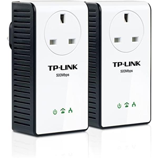محول طاقة شبكة تي بي لينك لا حاجة لأي اسلاك يتميز بسرعة عالية TL-PA551 AV500+ Gigabit Powerline Adapter with AC Pass Through