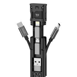 عصا كبل متعددة الوظائف من M8J516 Budi تدعم محول USB ، مجموعة SIM ، قارئ ذاكرة ، حامل الهاتف