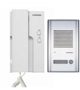 كوماكس DP-2HPR/DR-201A - طقم تليفون بوابة (دور فون) خارجي غلاف الومنيوم لشقة واحدة مع سماعة يد داخلية يمكن من خلالها فتح بابين