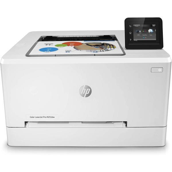 طابعة HP Color LaserJet Pro M255dw بالألوان بسرعة طباعة تصل إلى 22 صفحة في الدقيقة (الأسود الألوان) - اللون: أبيض