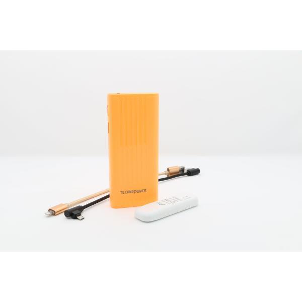 تكنو باور  بنك برتقالي  سعة 11000 مللي أمبير مع راوتر - واي فاي USB