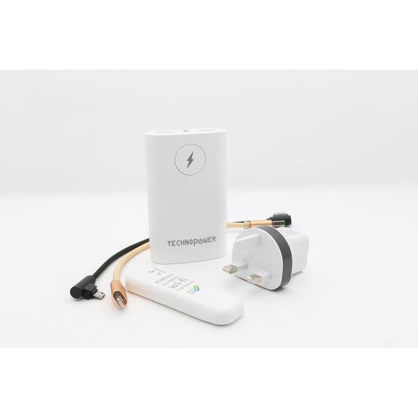 تكنو باور  بنك أبيض  سعة 6600 مللي أمبير مع راوتر - واي فاي USB