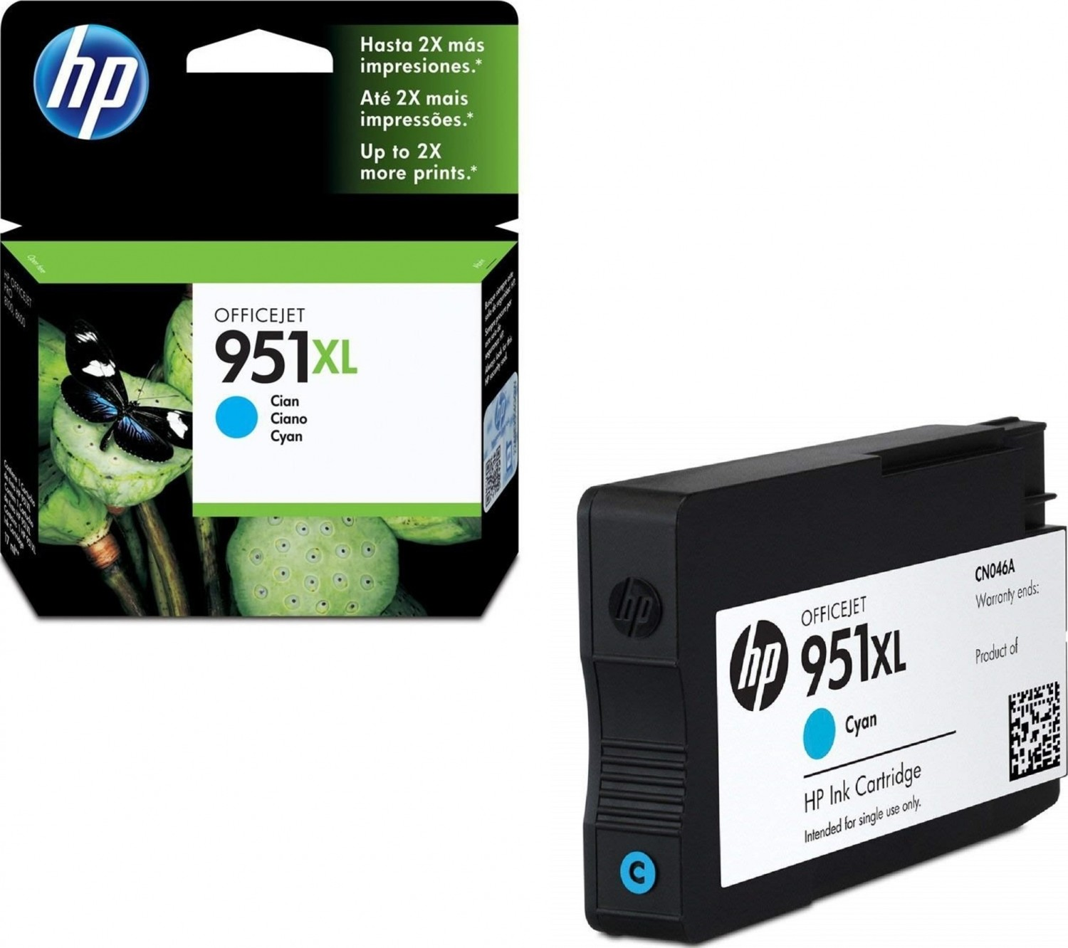 خرطوشة حبرhp HP 951XL High Yield Cyan Ink Cartridge - CN046AE لون سماوي