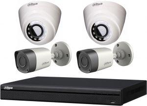 داهوا طقم 4 كاميرات مراقبة داخلية وخارجية بدقة 2 ميجا تصوير ليلي مع جهاز تسجيل مشاهدة من الجوال HDW1200RN& HFW1200TN