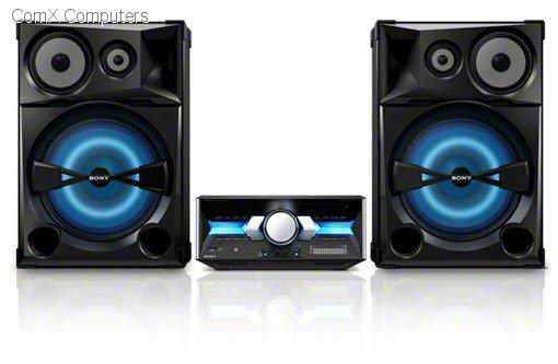 •سوني ميني هاي فاي SHAKE-7 مسرح منزلي سماعات رباعية الاتجاه مؤثرات دي جيه مع صوت قوي للغاية الاستماع بلمسة واحدة عن طريق NFC والبلوتوث و30 مؤثر إضاءة متنوعة