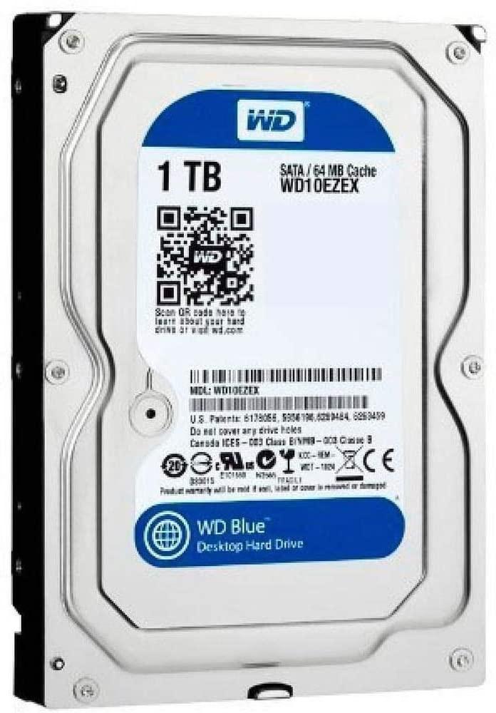 محرك الاقراص الصلبة الداخلي للكمبيوتر بسعة 1 تيرابايت وذاكرة تخزين مؤقت بسعة 64 ميجابايت و7200 دورة في الدقيقة من ويسترن ديجيتال - Blue WD10EZEX