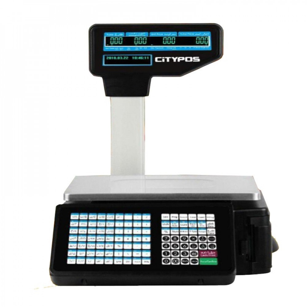 ميزان إلكتروني من CityPOS مع ملصقات باركود موديل CP-LWS201